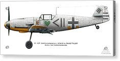 Bf 109f Gruppenkommandeur I./jg54 Hptm. Hans Philipp. March 1942. Krasnogwardeisk Acrylic Print by Vladimir Kamsky