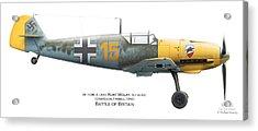 Bf109e-4. Uffz. Kurt Wolff. 3./jg 52. Coquelles. France. Battle Of Britain 1940 Acrylic Print by Vladimir Kamsky