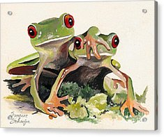 Bff Froggies Acrylic Print by Suzanne Schaefer