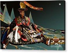 Acrylic Print featuring the digital art Bhutanese Dancer by Angelika Drake