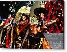 Acrylic Print featuring the digital art Bhutanese Dancers by Angelika Drake