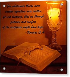 Bible By Candlelight Acrylic Print