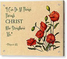 Bible Verse With Poppies Acrylic Print by Joyce Geleynse