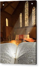 Bible With A Ring In Church Sanctuary Acrylic Print