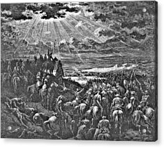 Biblical Battle Scene Engraving Acrylic Print by