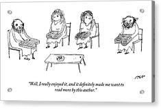 Biblical Scholars Read Tablets Like A Book Club Acrylic Print
