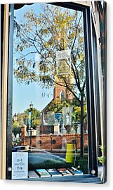 Biblion Used Books Reflections 1 - St. Peter's Church In Lewes Delaware Acrylic Print by Kim Bemis