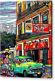 Bici Taxis And Almendrones Acrylic Print by Arturo Cisneros