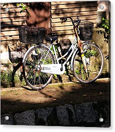 Acrylic Print featuring the photograph Bicycle And Baskets Kyoto - Philosophers' Walk by Jacqueline M Lewis