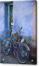 Bicycle And Blue Wall Painterly Effect Acrylic Print