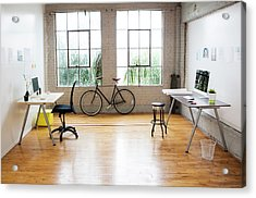 Bicycle And Desks In Modern Office Acrylic Print by Sam Diephuis