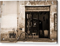 Bicycle And Reflections At L'antiquari Bar  Acrylic Print by RicardMN Photography
