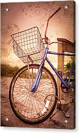 Bicycle At The Beach Acrylic Print by Debra and Dave Vanderlaan