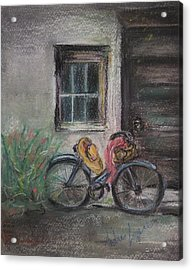 Bicycle By The Door Acrylic Print by Andrea Flint Lapins