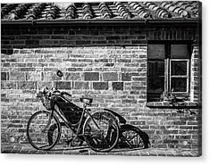 Bicycle In Black And White Acrylic Print by Clint Brewer