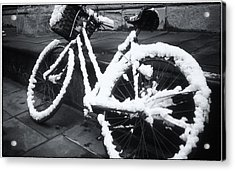 Bicycle In Snow Acrylic Print
