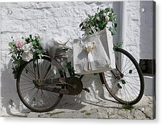 Bicycle Parked Against A Wall, Trulli Acrylic Print by Panoramic Images
