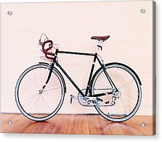 Bicycle Parked Against Wall Acrylic Print by Markus Spiering / Eyeem