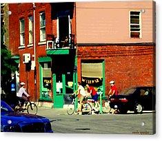 Bicycle Path At Wilenskys Diner Rue Fairmount And Clark Montreal Cafe Street Scene Carole Spandau Acrylic Print by Carole Spandau