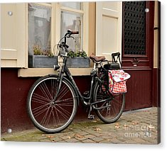 Bicycle With Baby Seat At Doorway Bruges Belgium Acrylic Print