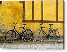 Acrylic Print featuring the photograph Bicycles Aarhus Denmark by John Jacquemain
