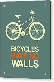 Bicycles Have No Walls Poster 3 Acrylic Print by Naxart Studio