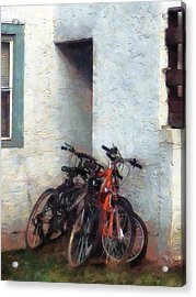 Bicycles In Yard Acrylic Print by Susan Savad