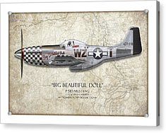 Big Beautiful Doll P-51d Mustang - Map Background Acrylic Print