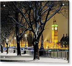Big Ben And Houses Of Parliament In Snow Acrylic Print