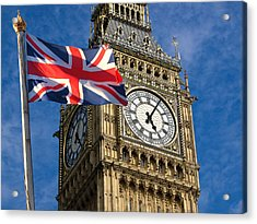 Big Ben And Union Jack Acrylic Print by Neven Milinkovic