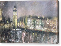 Big Ben, From The South Bank, 1995 Pastel On Paper Acrylic Print