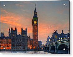 Big Ben Parliament And A Sunset Acrylic Print