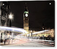 Big Ben With Light Trails Acrylic Print