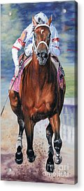 Big Brown Charging Down The Stretch Acrylic Print by Thomas Allen Pauly