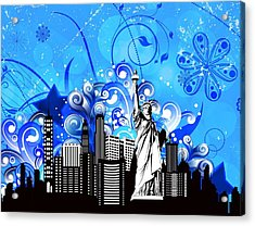 Big City Blues 4 Liberty Acrylic Print by Stanley Mathis