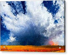 Acrylic Print featuring the painting Big Cloud In A Field by Bruce Nutting
