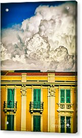 Acrylic Print featuring the photograph Big Cloud Over City Building by Silvia Ganora