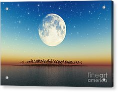 Big Full Moon Behind Island Acrylic Print by Aleksey Tugolukov