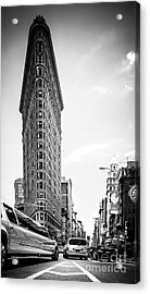 Big In The Big Apple - Bw Acrylic Print by Hannes Cmarits