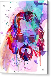 Big Lebowski Watercolor Acrylic Print by Naxart Studio
