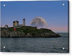 Big Moon Over Nubble Lighthouse Acrylic Print
