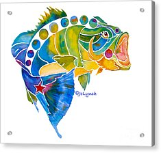 Acrylic Print featuring the painting Big Mouth Bass Whimsical by Jo Lynch