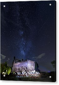 Big Muskie Bucket Milky Way And A Shooting Star Acrylic Print by Jack R Perry