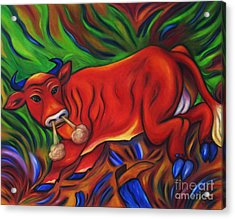 Acrylic Print featuring the painting Big Red Bull Bucks by Dianne  Connolly