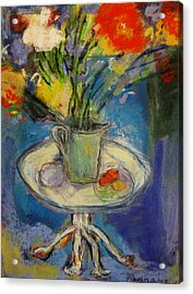 Big Red Flowers In A Pale Green Vase  Acrylic Print by Tolere