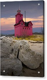 Big Red Lighthouse By Holland Michigan Acrylic Print by Randall Nyhof