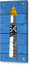 Big Sable Point Lighthouse Michigan Great Lakes License Plate Art Acrylic Print by Design Turnpike