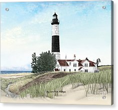Big Sable Point Lighthouse Titled Acrylic Print by Darren Kopecky