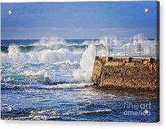 Big  Sea At Bondi Beach Australia Acrylic Print by Colin and Linda McKie