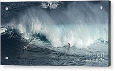 Big Wave Surfers Maui Acrylic Print by Bob Christopher